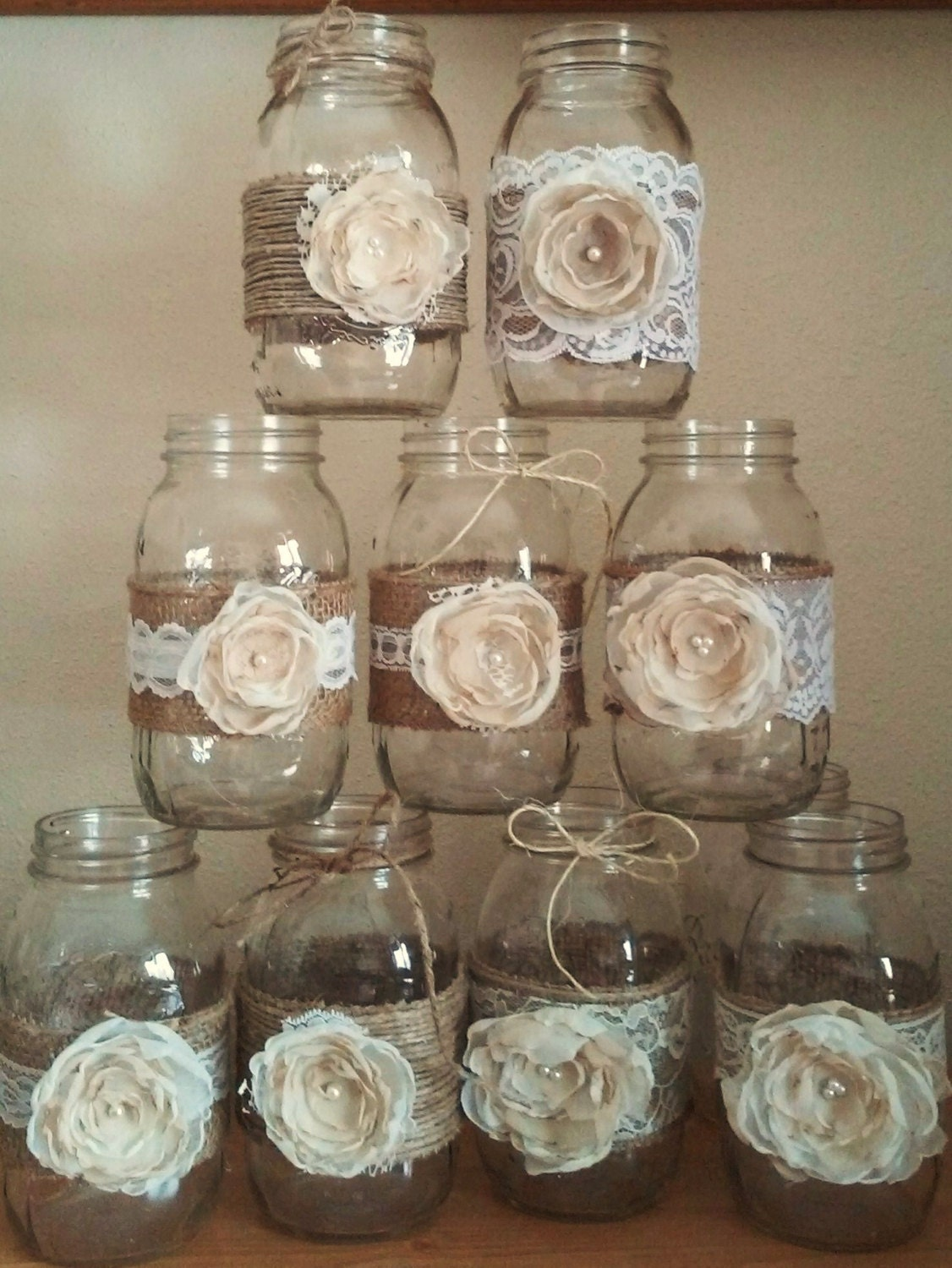 Mason Jar Centerpieces Rustic Mason Jars Wedding Etsy