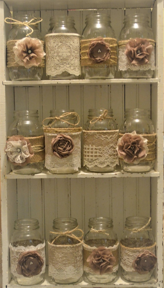 Mason Jar Wedding Centerpieces.12 Mason Jar Wedding Centerpieces Rustic Wedding Burlap Mason Jar Sleeves Jar Not Included Bridal Shower Decorations