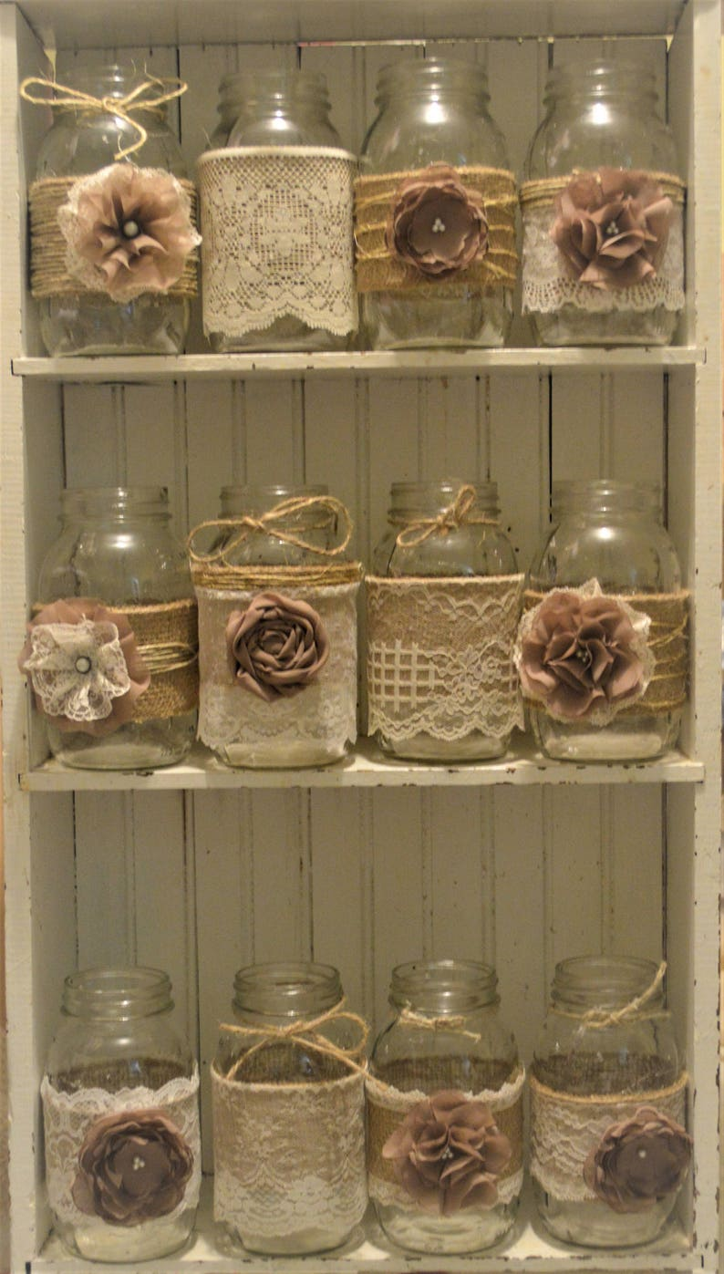 12 Mason Jar Wedding Centerpieces Rustic Wedding Burlap Etsy