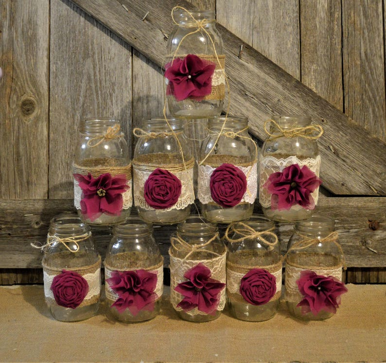Burlap Mason Jar Centerpieces Bridal Shower Decorations Baby Etsy