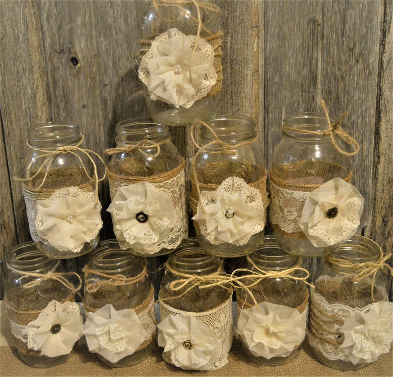Mason Jar Wedding Decorations Rustic Wedding Centerpieces Etsy