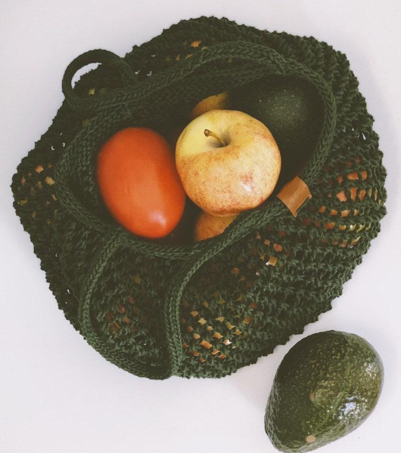 Handmade Cotton Market Bag Farmer\u2019s Market Reusable /& Eco-friendly Green Produce Bag