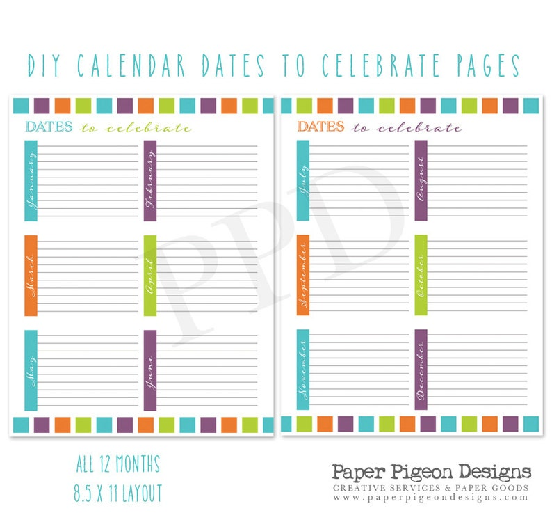 graphic regarding Diy Planner Pages referred to as Dates in the direction of Recall Planner Internet pages-Dates towards Rejoice Web pages-8.5 x 11 Letter Dimensions PDF Web pages-Electronic Planner Webpages -Do it yourself Planners Do it yourself Organizer