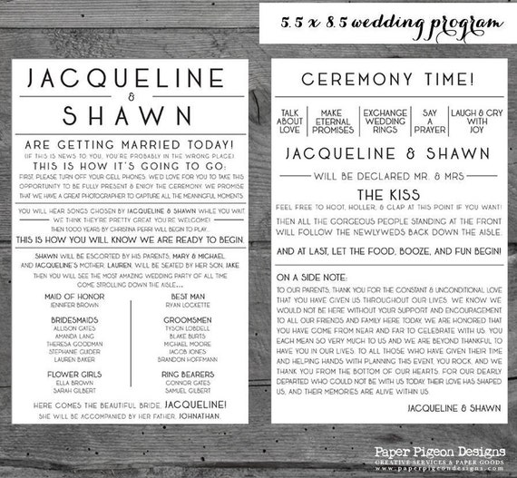 fun wedding programs wedding program printable wedding etsy