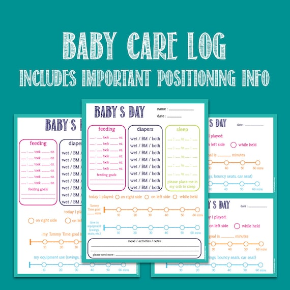baby care printable log nanny log daycare notes tummy time etsy