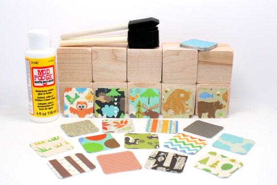 Wood blocks diy baby shower craft woodland animals for Child craft wooden blocks