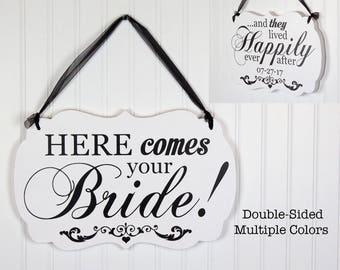 Double Sided Wood Wedding Sign Personalized with Choice of text. Ring Bearer Here Comes the Bride Happily Ever After Mr. and Mrs.