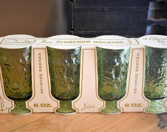 Vintage Anchor Hocking Avocado Green Lido Footed Juice Glasses