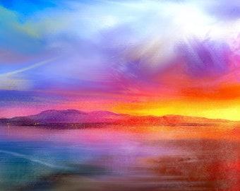 Arran Sunset | Scottish Art Painting Prints | Made In Scotland