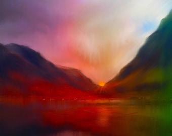 Glencoe Sunset | Scottish Art Painting Prints | Made In Scotland