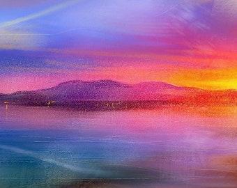 Arran Sunset | Scottish Panoramic Paintings & Art Prints