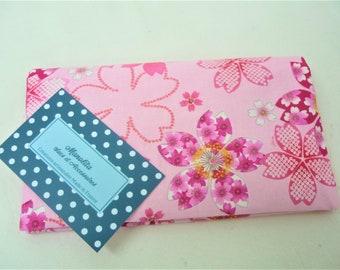 Fabric checkbook cover pink flowers, door-checkbook Japanese fabric flowers