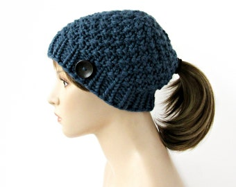 8b84dc4b3823b Blue Knit Ponytail Hat - Beanie with Hole - Classic Ponytail Hat with Low  Hole - Low Ponytail Hat - Handmade in Alaska