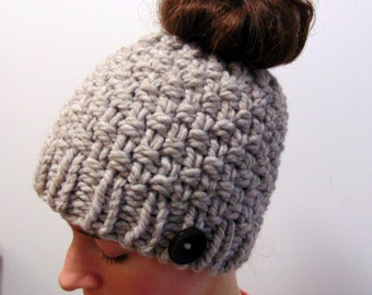 3c7ef94d10a8a Chunky Knit Messy Bun Beanie - Messy Bun Hat - Winter Beanie with Hole -  Made in Alaska - Gift for Her - Moss Stitch
