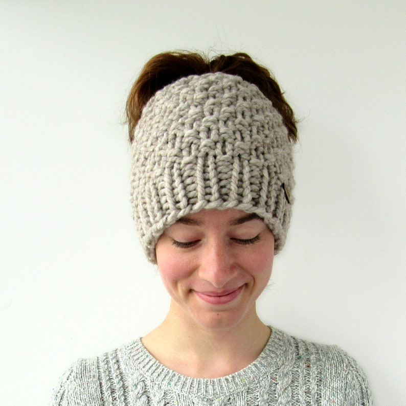 Moss Stitch Winter Beanie with Hole Chunky Knit Messy Bun Beanie Gift for Her Made in Alaska Messy Bun Hat