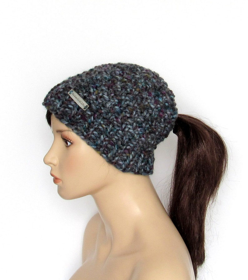 e6dedc53eac36 Knit Ponytail Beanie Cap with Ponytail Hole Low Ponytail