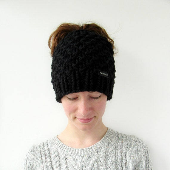 39c935d55 Chunky Knit Messy Bun Beanie, Hat with Bun Hole, Ponytail Hat, Made in  Alaska