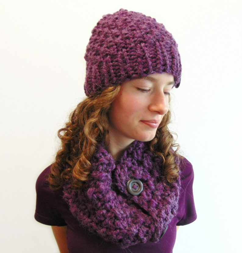 07d490f9a1cdd Purple Hat   Cowl Set Hat and Scarf Chunky Knit Beanie