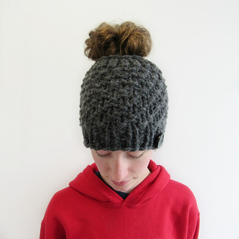 3f42c64aee69e Charcoal Gray Messy Bun Hat Chunky Knit Beanie with Hole for