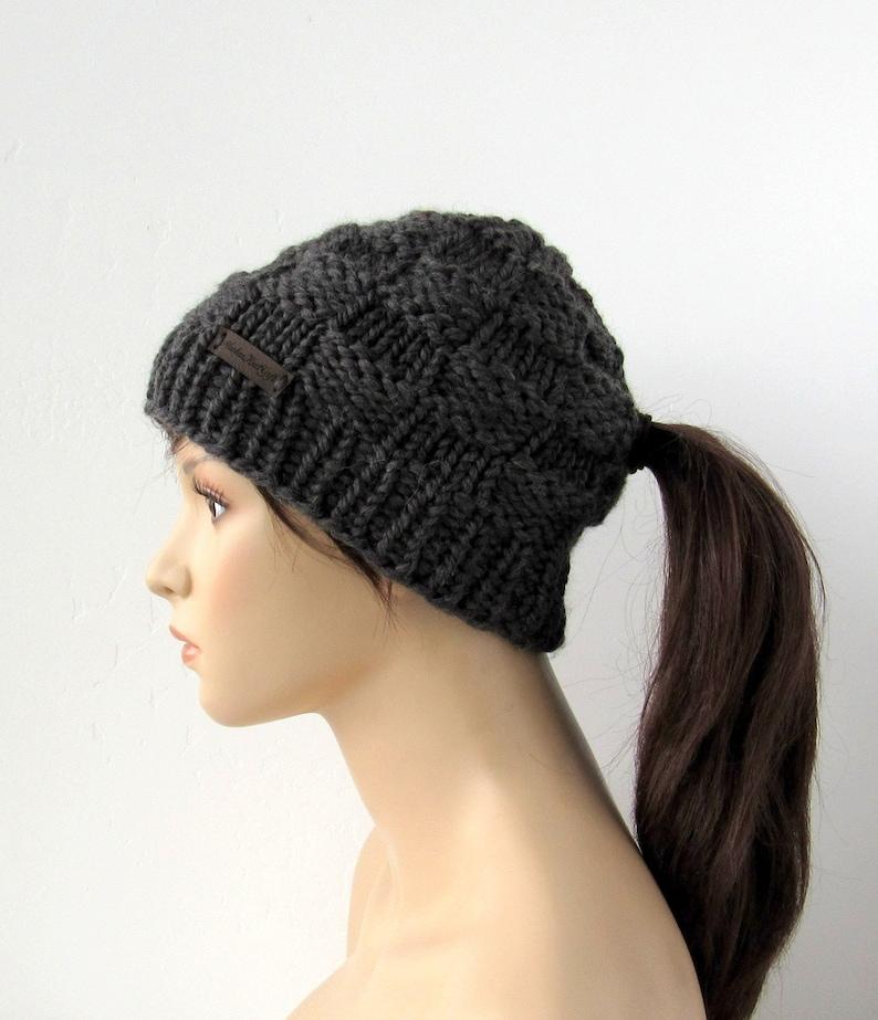 67883bf60a439 Dark Gray Low Ponytail Hat Chunky Knit Beanie with Pony Tail