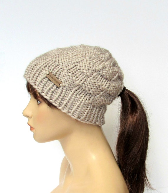 cee931aae71fa Beanie with Ponytail Hole Ponytail Hat Chunky Knit Low