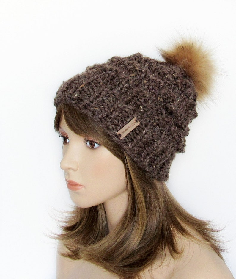 65f6e34fe2c Chunky Knit Hat with Faux Fur Pom Pom Brown Tweed Wool