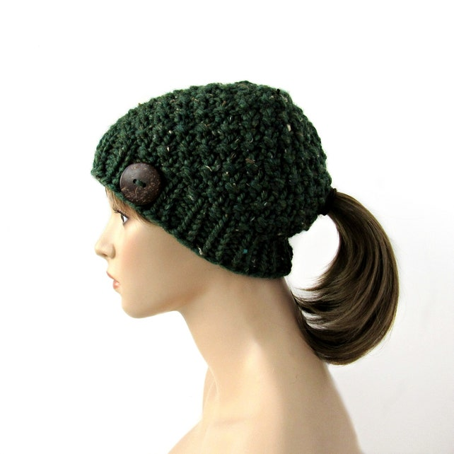 Knit Hat with Ponytail Hole Ponytail Hat Chunky Knit Tweed  85565bff20e
