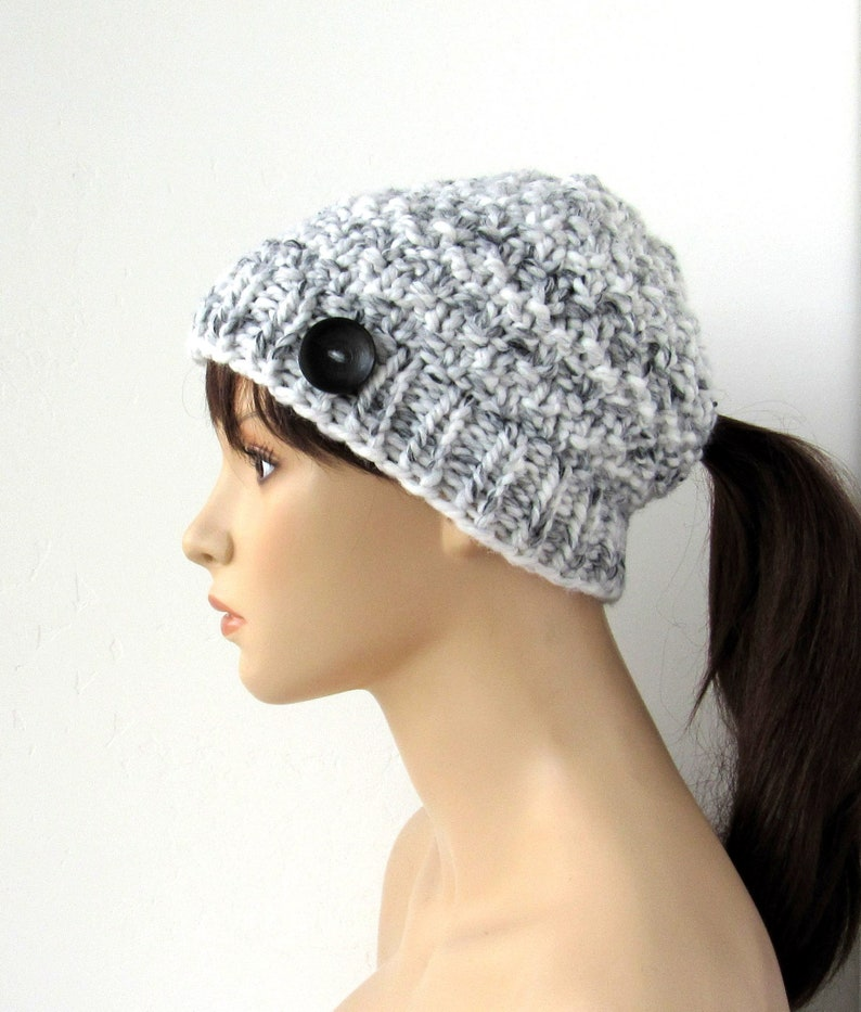 3f4ab188311c2 Black and White Knit Ponytail Hat Ponytail Beanie Low