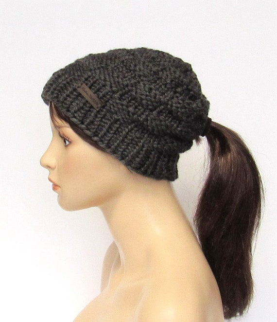 f41fbe11521 Dark Gray Low Ponytail Hat Chunky Knit Beanie with Pony Tail
