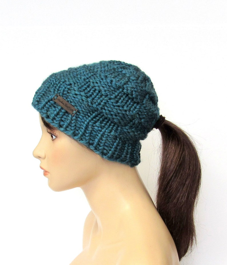 Ponytail Beanie Hat Soft Teal Blue Chunky Knit Low Ponytail Hole Hat ... 04d289c7a47