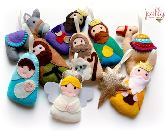 make your own felt nativity garland kit christmas garland felt garland christmas ornament craft kit nativity set felt decoration