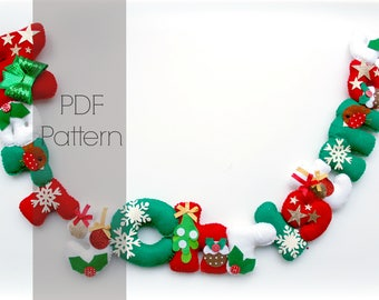 Felt Merry Christmas garland PDF Pattern. Felt letters. Felt Garland. Felt banner. Digital Pattern. Instant Download