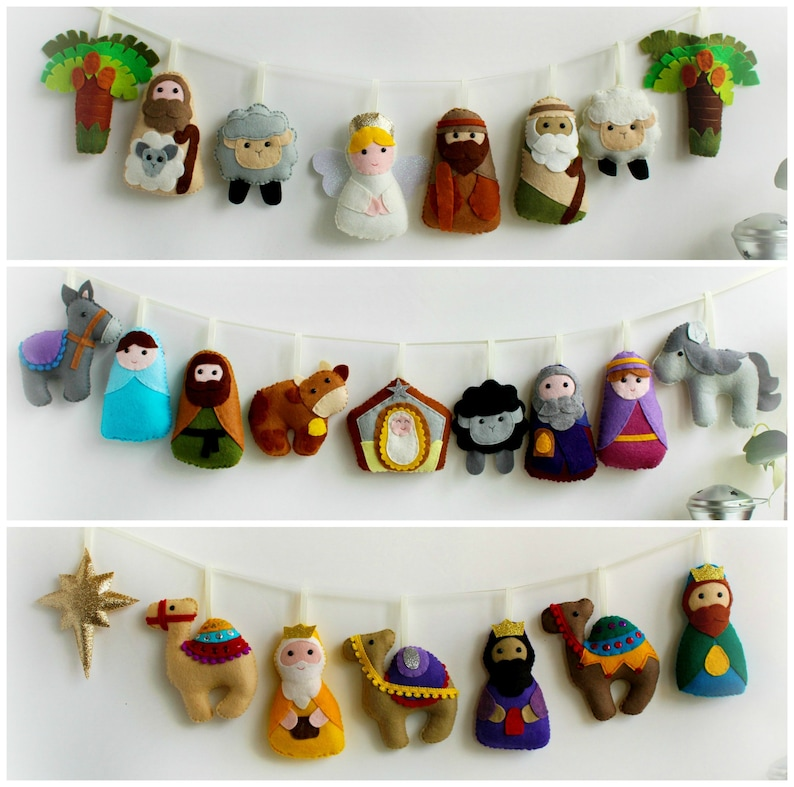 24 Christmas Nativity Ornaments Craft Kit for a Jesse Tree or Advent Calendar.