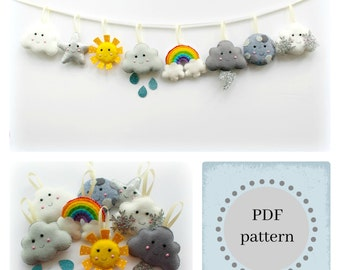 PDF instructions for felt weather garland. Instructions for 8 decorations included. Digital Pattern. Instant Download