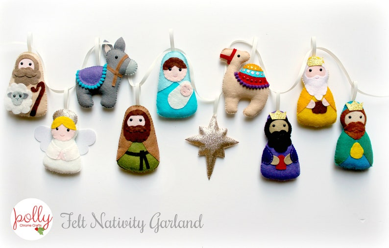 Make Your Own felt Nativity Garland Kit Christmas garland image 2