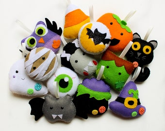 PDF instructions for felt Halloween Countdown garland. Instructions for 13 decorations included. Digital Pattern. Instant Download