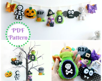 PDF instructions for felt Halloween garland. Instructions for 9 decorations included. Digital Pattern. Instant Download