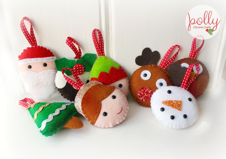 Small Felt Christmas Garland Set Set Of 8 Felt Christmas Decorations Santa Angel Elf Reindeer Robin Pudding Christmas Tree Snowman