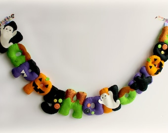 Make Your Own felt Happy Halloween Garland Kit. Sewing pattern. DIY Craft. Sew Your Own. Craft kit.