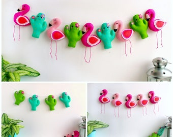 PDF pattern for felt Flamingo and Cactus Garland, full instructions and templates, Digital Pattern, Instant Download, felt kit