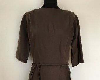 """Vintage 1950s 'R&K Originals' Brown Day Dress """"For The Girl Who Knows Clothes"""" from Broadway New York"""