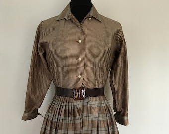 A Lovely Vintage 1950s Brown, Cream and Grey Shirt-Waister Checkered Dress