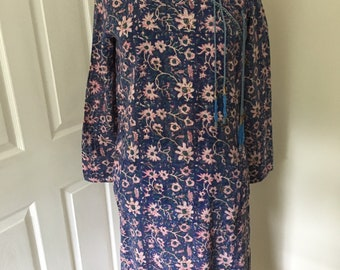 91218186d65 Fabulous 1970's Vintage ADINI Floral Indian Cotton Hippie/Boho Midi Dress -  Size M