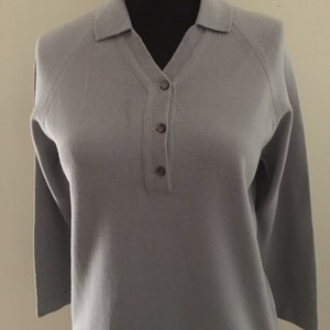 Vintage 1950/'s Pale Blue Long Sleeved Button Front Blouse Approx UK 14