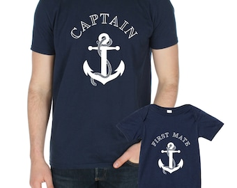9524d9e2b37 Captain   First Mate T-shirt and Baby Grow Set Matching Shirts Cute BFF s  Besties Set Father Son Fathers day