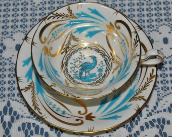 Handpainted Gold /& Blue Bird Royal Chelsea Tea Cup and Saucer Set