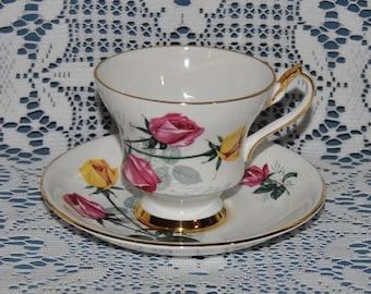 Beautiful Vintage, Windsor, Red And Yellow Roses, Fine Bone China Teacup And Saucer