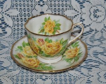 "Beautiful Vintage, Royal Albert, ""Tea Rose"" Large Yellow Roses, Fine Bone China Teacup And Saucer"