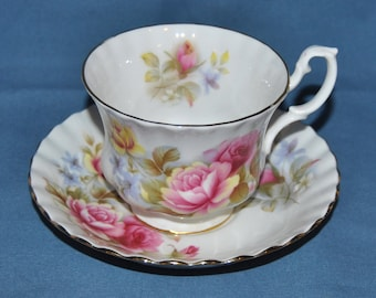 Beautiful Vintage, Royal Albert, With Large Pink, Red And Yellow Roses, Fine Bone China Teacup And Saucer