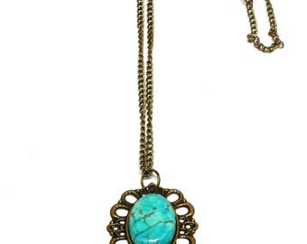 Cabochon turquoise cameo necklace